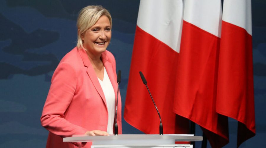 Marine Le Pen arrives to deliver her speech during her National Rally Party's first public meeting following the summer break, on Sept. 6, 2020, in Frejus, southeastern France. (Valery Hache/AFP via Getty Images)