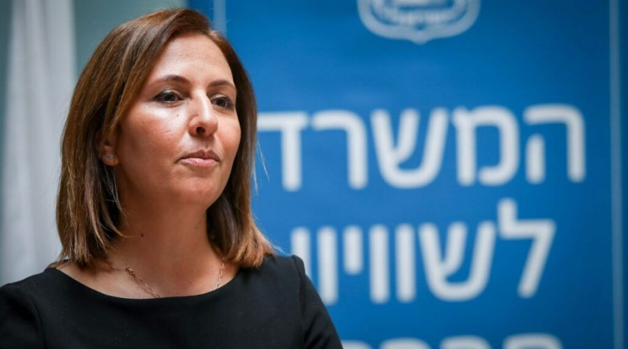 Israeli government minister Gila Gamliel at the Ministry of Social Equality in Jerusalem on May 18 2020. (Flash90)