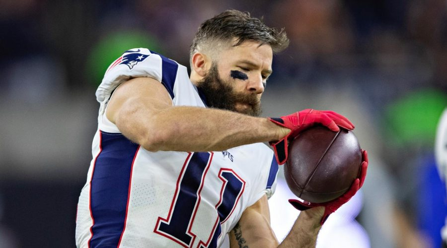 Julian Edelman warms up before a game against the Houston Texans at NRG Stadium in Houston, Dec. 1, 2019.