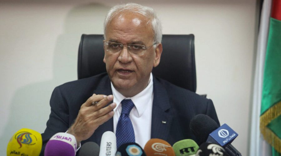 Palestinian chief negotiator Saeb Erekat speaks during a press conference in the West Bank city of Jericho, Feb. 15, 2017. (Flash90)