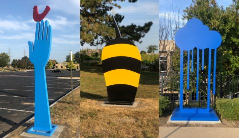 Works by artist Jeffie Brewer are among the new sculptures installed on the Millstone Campus.