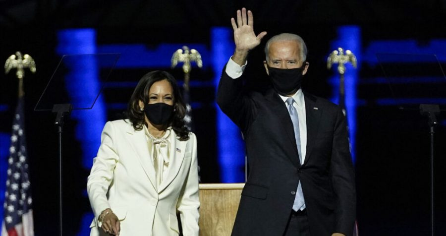 US President-elect Joe Biden and Vice President-elect Kamala Harris deliver remarks in Wilmington, Delaware, on Nov. 7, 2020. (Andrew Harnik by /POOL/AFP via Getty Images)