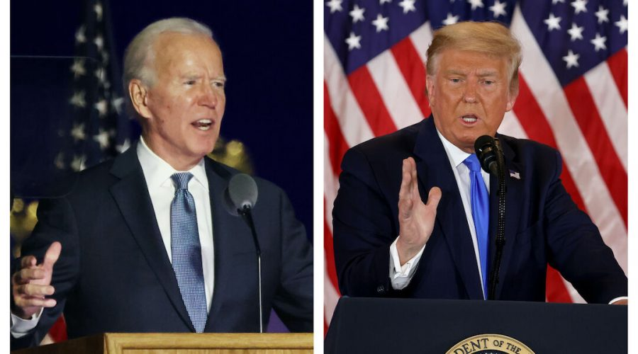 Joe+Biden+and+Donald+Trump+commented+on+the+vote+results+in+the+early+hours+of+Nov.+4%2C+in+Delaware+and+the+White+House+respectively.+%28Getty+Images%29