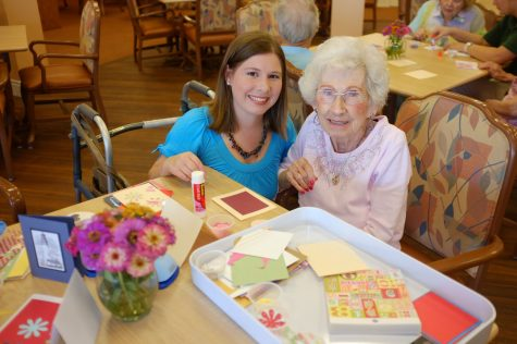 Aleeza Granote (at left) and a participant at a card-making event for Card Care Connection at Family Partners Adult Day Services.Granote, a pediatric oncology social worker at Cardinal Glennon Children's Medical Center, founded Card Care Connection, a nonprofit organization that provides supportive cards and hopeful messages to people with cancer across the country.