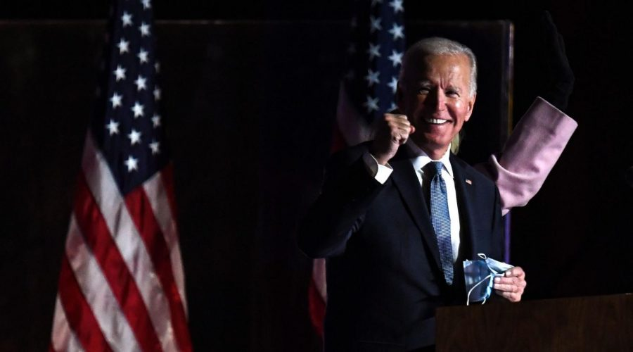 Joe+Biden+at+the+Chase+Center+in+Wilmington%2C+Dela.%2C+early+on+Nov.+4%2C+2020.+%28Roberto+Schmidt%2FAFP+via+Getty+Images%29
