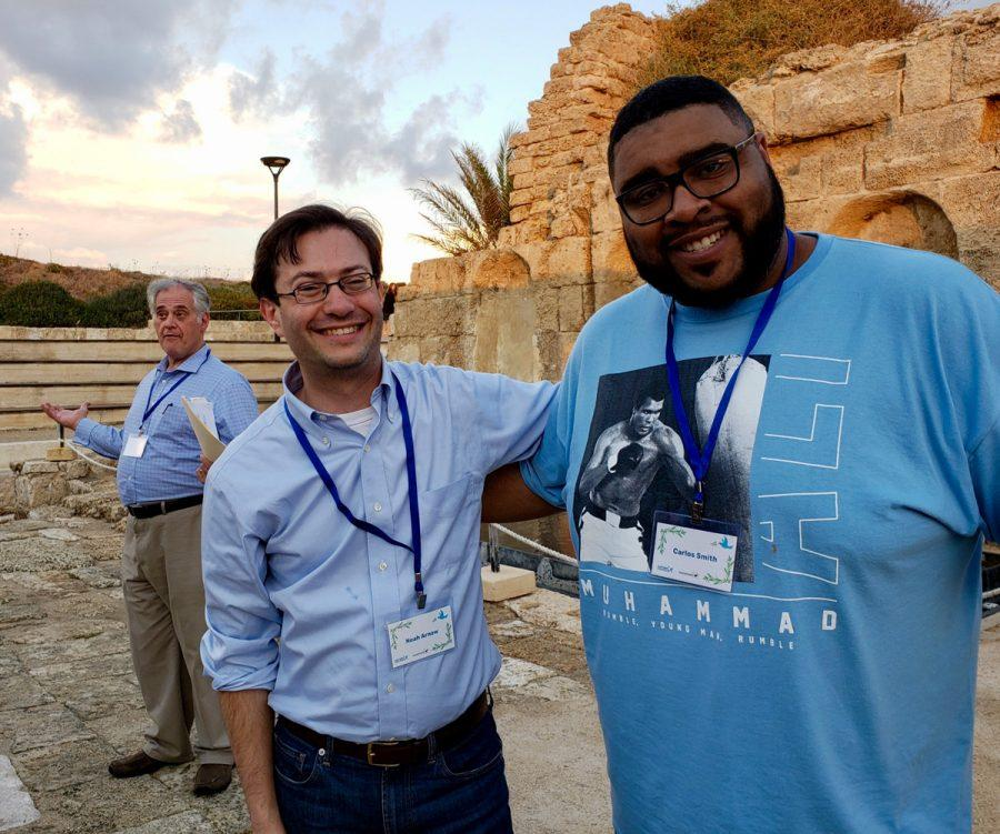 Rabbi Noah Arnow of Kol Rinah (at left)and Pastor Carlos Smith of the Journey church are shown during their 2018 trip to Israel, which wasfocused on building connections between rabbis and African-American Christian clergy.
