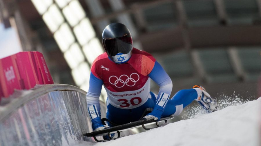 AJ Edelman competing in the skeleton event at the 2018 Winter Olympics. Photo by Viesturs Lacis