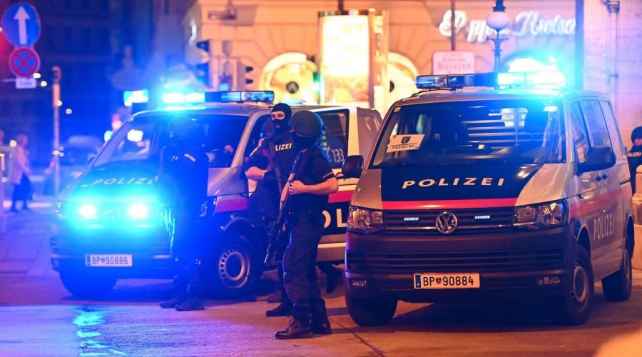 Policemen+stand+in+central+Vienna%2C+near+where+dozens+of+shots+were+fired+on+Nov.+2%2C+2020.+%28Joe+Klamar%2FAFP+via+Getty+Images%29%C2%A0