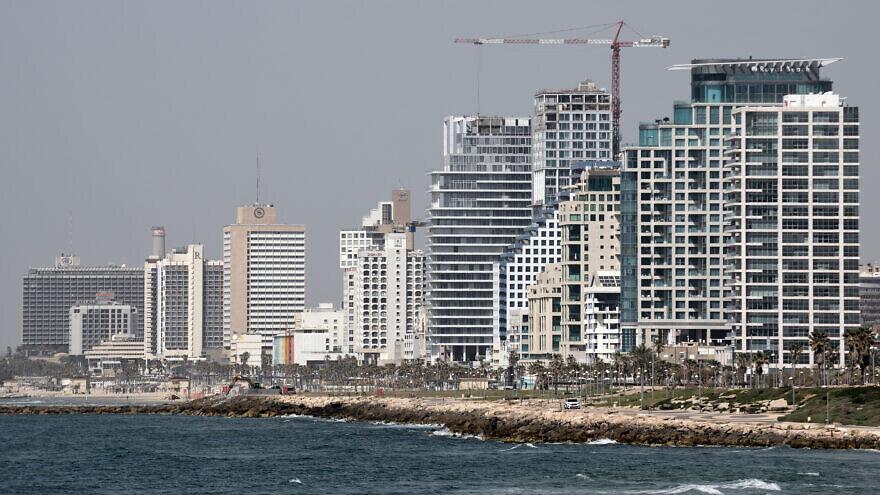 Hotels on Tel Aviv's coastline are seen from Jaffa on March 26, 2020. Photo by Gili Yaari/Flash90.