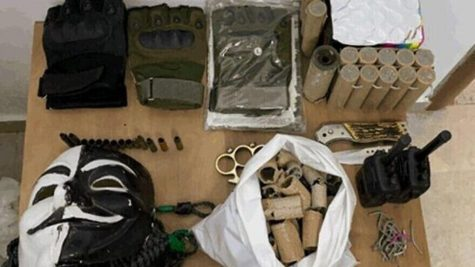 Some of the weapons found in the possession of West Bank Palestinian minors reportedly recruited by Hamas to carry out terror attacks in Israel. Photo: Israel Security Agency
