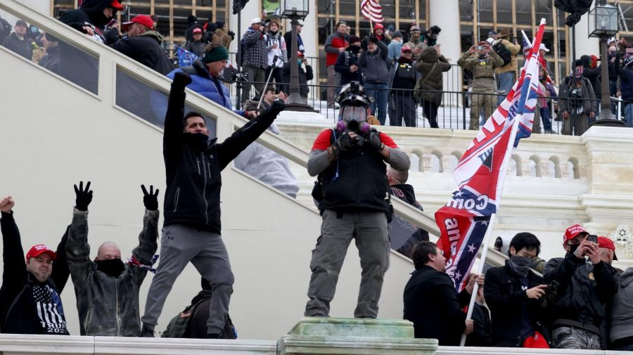 Protesters gather on the U.S. Capitol Building in Washington, D.C. Jan 6, 2021. Pro-Trump protesters entered the Capitol building after mass demonstrations. (Tasos Katopodis/Getty Images)