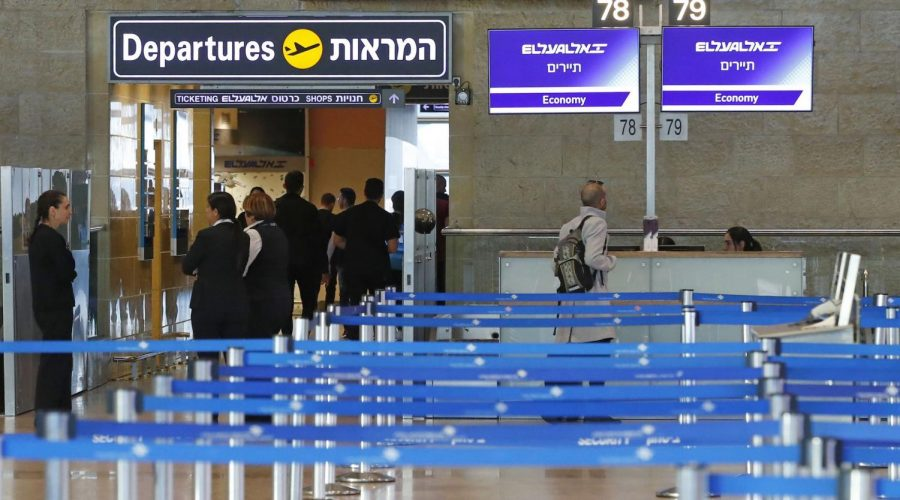 El Al Israel Airlines departure counter is pictured empty after it cancelled flights to Italy at Ben Gurion International Airport, near Tel Aviv, on February 27, 2020. - Israel has recorded three confirmed cases of the COVID-19 virus, including two from the Diamond Princess cruise ship and an Israeli who had been in northern Italy. (Photo by JACK GUEZ / AFP) (Photo by JACK GUEZ/AFP via Getty Images)