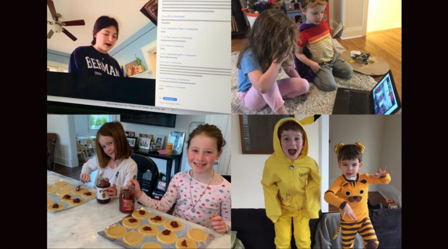 Students at the Leffell School in Westchester County, which emerged as an early epicenter for the coronavirus last spring in New York state, celebrated Purim from home in 2020. (Courtesy of Yael Buechler)