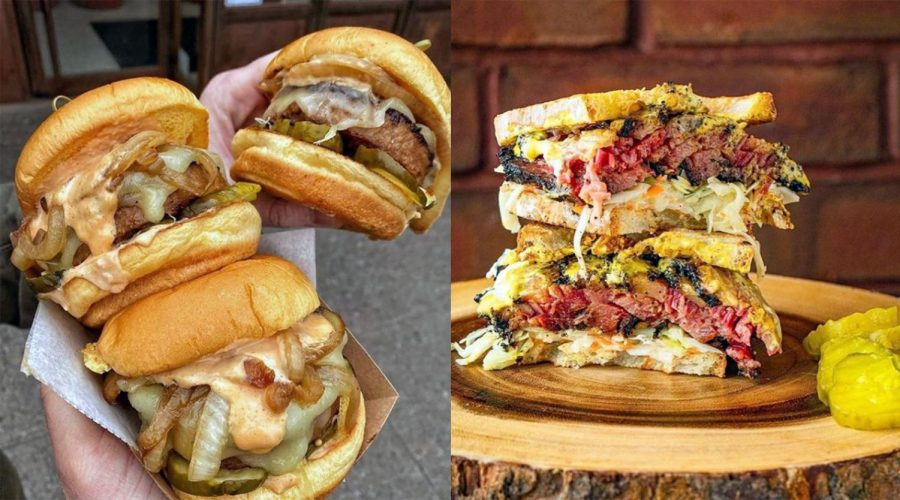 Left%3A+Beyond+Burgers+from+Diller%3B+right%3A+a+sandwich+from+Izzy%E2%80%99s+BBQ.+%28Dani+Klein%29