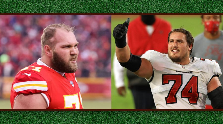 Mitchell Schwartz, left, and Ali Marpet are two of the NFL's few Jewish players. (Getty Images)
