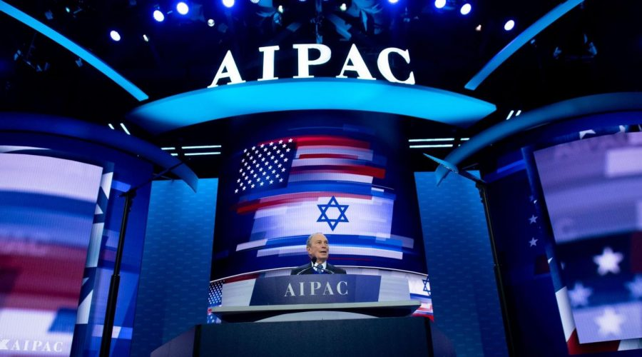 Mike Bloomberg was a Democratic presidential hopeful when he spoke at AIPAC's 2020 policy conference in Washington, March 2, 2020. (Saul Loeb/AFP via Getty Images)