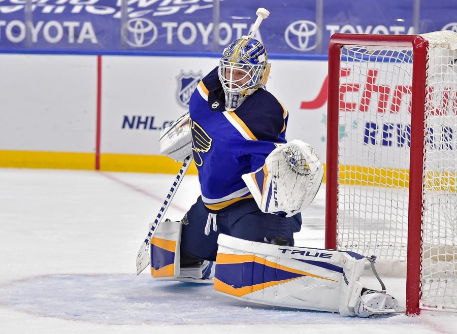 Mar 12, 2021; St. Louis, Missouri, USA; St. Louis Blues goaltender Jordan Binnington (50) gives up the game winning goal to Vegas Golden Knights right wing Reilly Smith (19) during overtime at Enterprise Center. Mandatory Credit: Jeff Curry-USA TODAY Sports