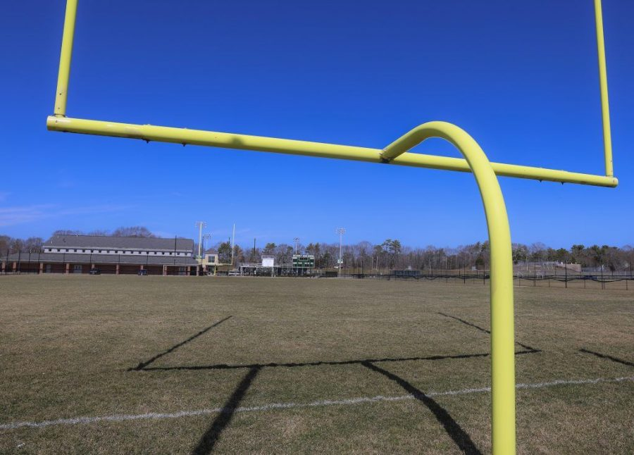 The Duxbury Athletic Complex at Duxbury High School in Duxbury, MA on March 23, 2021. The Anti-Defamation League is seeking an investigation into the football team's use of Holocaust-related terms. ( Matthew J. Lee/The Boston Globe via Getty Images)