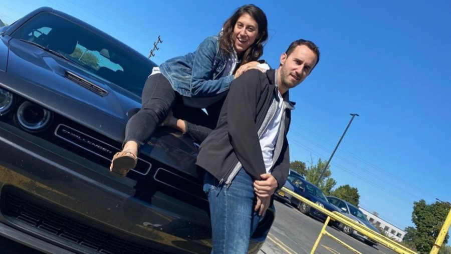 Sofi Hersher and Nate Andorsky pose during a visit to introduce Andorsky to Hersher's grandmother, with COVID precautions in place, in Syracuse, New York, Sept. 21, 2020. (DeAjah DeLee)