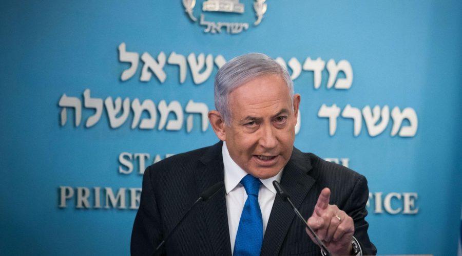 Israeli Prime Minister Benjamin Netanyahu speaks to the media in Jerusalem, Aug. 13, 2020. (Yonatan Sindel/Flash90)
