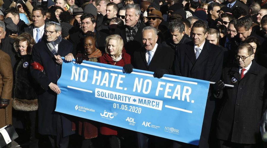 NEW YORK, UNITED STATES - JANUARY 05 2020: (L_R) Chirlane Irene McCray, Mayor of New York Bill de Blasio, Senator Kirsten Gillibrand, Senator Chuck Schumer, Governor Andrew Cuomo, US Representative Jerry Nadler and members of the Jewish community take part during a No hate no fear solidarity march. As anti-Semitic incidents have increased in New York City as well as the United States, demonstrators held no hate no fear solidarity march. Representatives from various Jewish organisations as well as marchers from around the country joined the New Yorkers to call for an end to religious bigotry.