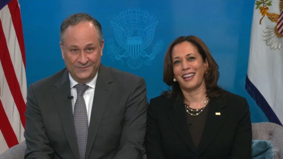 Vice President Kamala Harris and her husband Doug Emhoff participate in a virtual White House seder, March 25, 2021. (Screen shot)