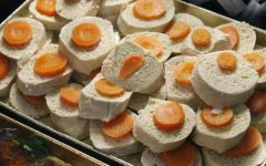 Tray of gefilte fish at the take-out store.