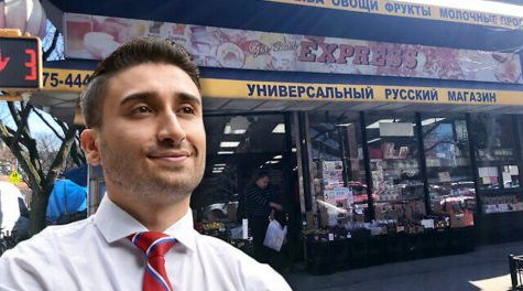City Council candidate David Aronov wants to be the first Bukharian-American to hold office in New York. Background: A Bukharian supermarket in the Rego Park section of Queens. (davidforqueens.com; Lauren Hakimi. Jewish Week montage by Janice Hwang)