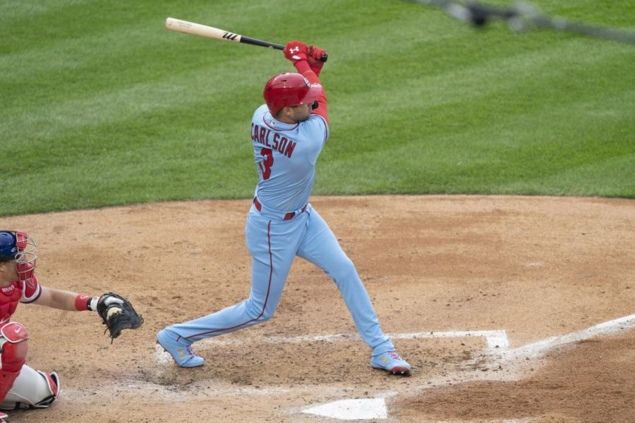 St. Louis Cardinals center fielder Dylan Carlson hits a RBI single during the third inning against the Philadelphia Phillies at Citizens Bank Park in Philadelphia on April 17. (Gregory Fisher/USA Today Sports)
