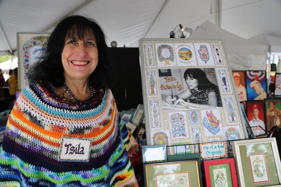 St. Louis artist Tsila Schwartz takes part in the first the Sababa Jewish Arts & Culture Festival in 2018. The festival, planned by Jewish Federation of St. Louis and the Jewish Community Center, is seeking artists for the 2021 festival, which is set for Oct. 10. Photo: Bill Motchan