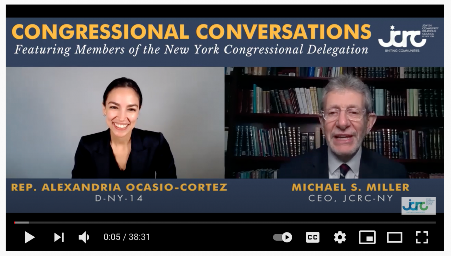 Rep.+Alexandria+Ocasio-Cortez%2C+D-NY%2C+is+interviewed+by+Michael+Miller%2C+head+of+the+Jewish+Community+Relations+Council+of+New+York%2C+April+1%2C+2021.+%28Screenshot+from+YouTube%29