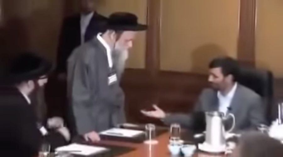 Rabbi Moshe Dov Ber Beck at a meeting in 2008 with Iranian President Mahmoud Ahmadinejad. (Screenshot from YouTube)