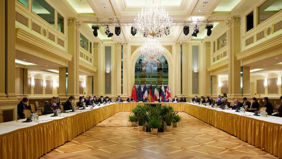 In this handout provided by the EU Delegation in Vienna, representatives of the European Union, Iran and others attend the Iran nuclear talks at the Grand Hotel in the Austrian capital, April 15, 2021. (EU Delegation in Vienna via Getty Images)