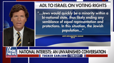 Tucker Carlson takes aim at the Anti-Defamation League in a monologue on Fox News, April 12, 2021. (Screenshot)