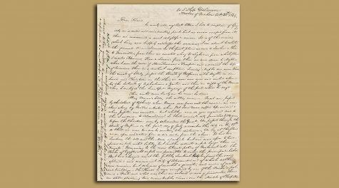 The first page of a newly discovered letter written by a passenger of the USS Delaware in 1834, following one of the first American voyages to Palestine. (Courtesy of Kedem Auction House, Jerusalem)