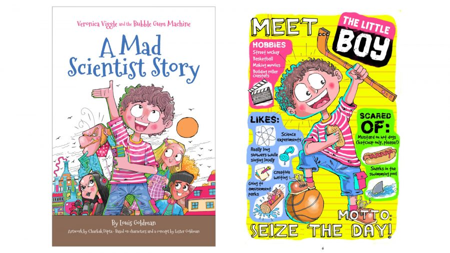 The cover and an inside page of 'Veronica Viggle and the Bubble Gum Machine: A Mad Scientist Story'