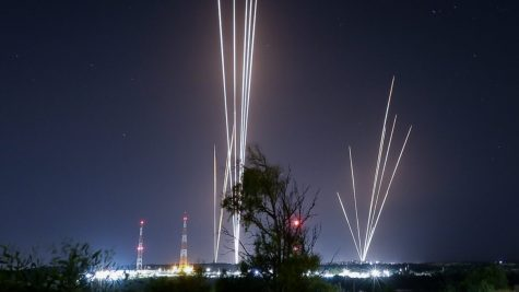 Rockets seen fired from the Gaza Strip into Israel on May 12, 2021. Photo by Edi Israel/Flash90