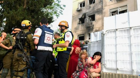 The scene outside an Ashkelon apartment building hit by a rocket fired from the Gaza Strip on May 11, 2021. Photo by Flash90
