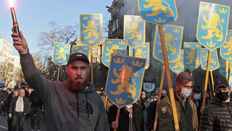 Hundreds in Ukraine attend marches celebrating Nazi SS soldiers, including in Kyiv for the 1st time