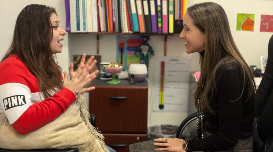 Rivka Nissel, right, works with a client during a mental health counseling session at the Jewish Board's Seymour Askin Clinic in the Midwood section of Brooklyn, N.Y. (Kate Lord)