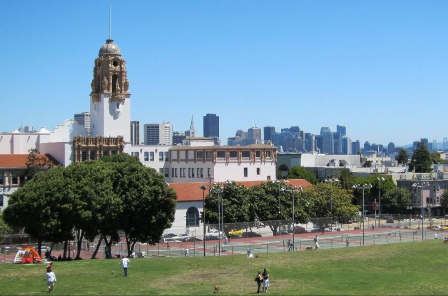 A view of Mission High School from Dolores Park. (Don Barrett /Flickr)