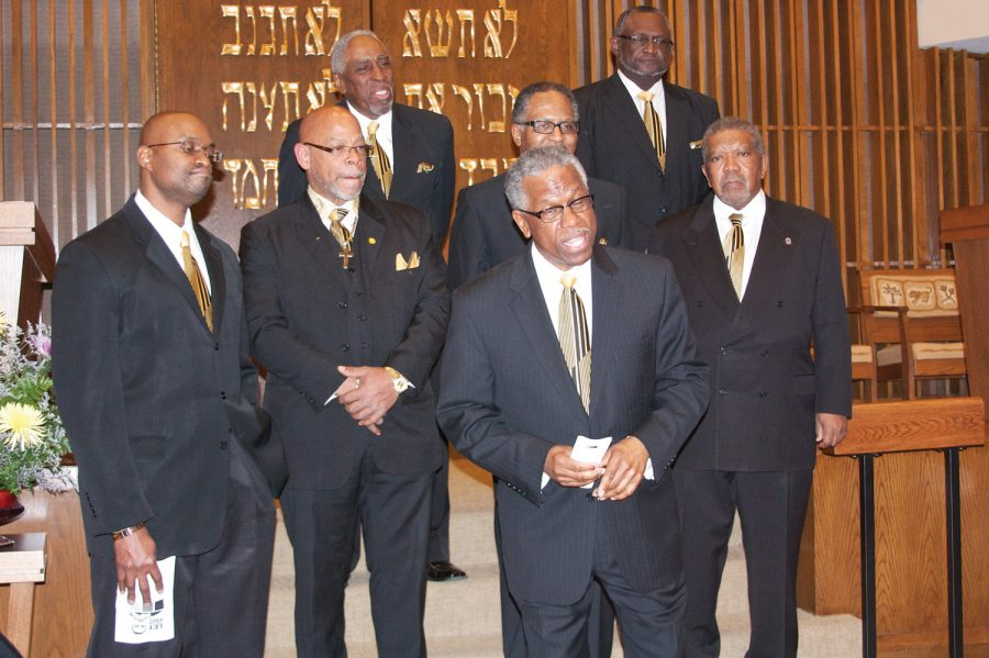 Malachi Owens Jr. (front) with the Men of Galilee Gospel Choir perform at a 2014 Shabbat service at Temple Emanuel in honor of Dr. Martin Luther King Jr. Photo: David Phillips