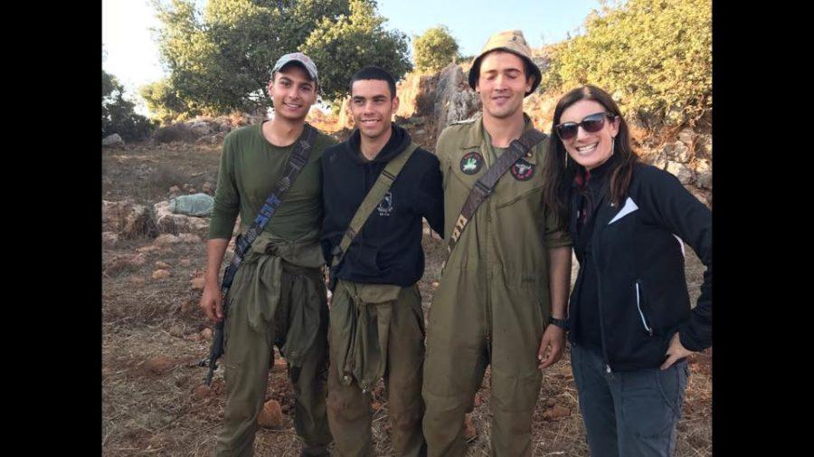 Rabbi Elizabeth Hersh of Temple Emanuel with members of the Israel Defense Forces in Israel.
