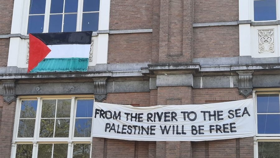 Dutch university removes 'from the river to the sea' pro-Palestinian banner following protests by Jews