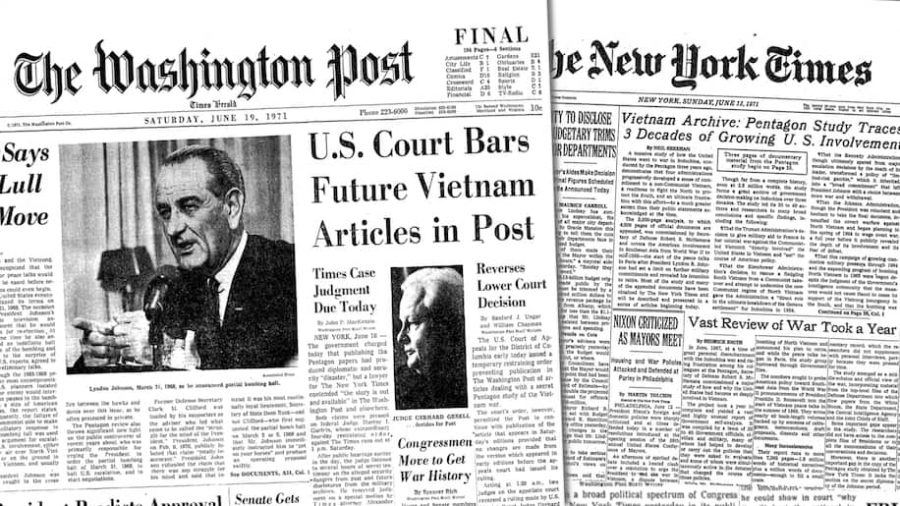 Front+pages+from+the+The+Washington+Post+and+the+New+York+Times+when+they+published+stories+about+the+Pentagon+Papers+in+June+1971.+%28The+Washington+Post%29