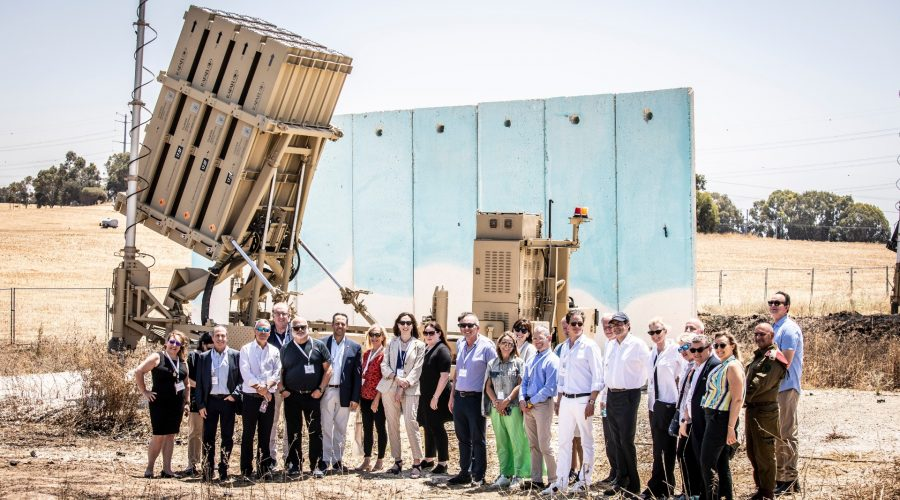 Members+of+the+first+solidarity+mission+of+the+Jewish+Federations+of+North+America+in+Israel+after+its+May+2021+conflict+with+Hamas+in+Gaza+visit+an+Iron+Dome+anti-rocket+installation.+%28JFNA%29