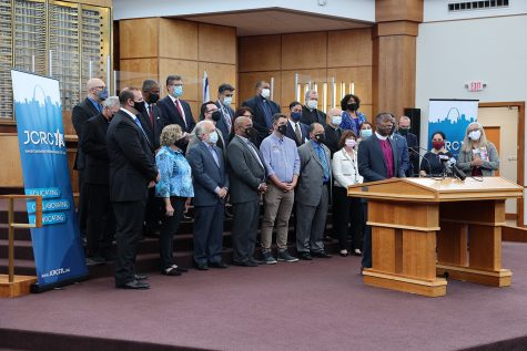 The Jewish Community Relations Council on June 1 gathered elected officials and interfaith leaders to speak out against anti-Semitism. Pictured here is Episcopal Bishop Deon Johnson. The press conference was held at Congregation B'nai Amoona. Photos by Bill Motchan
