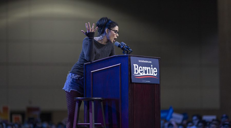 Sarah+Silverman+speaks+at+a+campaign+rally+for+Bernie+Sanders+at+the+Los+Angeles+Convention+Center%2C+March+1%2C+2020.+%28David+McNew%2FGetty+Images%29
