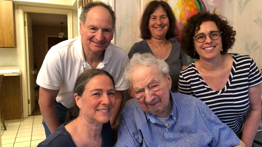 Aubrey+Yawitz+is+surrounded+by+his+children+%28from+left%29+Nancy%2C+Richard%2C+Carol+and+Joanne+for+his+105th+birthday.%0A