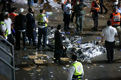 Israeli rescue forces and police at the scene after a mass fatality scene during the celebrations of the Jewish holiday of Lag Baomer on Mt. Meron, in northern Israel on April 30, 2021. Photo by David Cohen/Flash90
